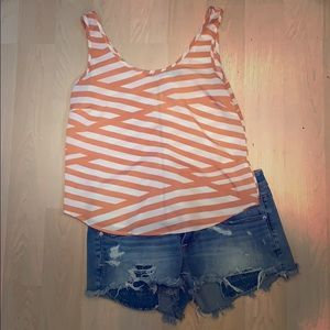 Coral and White Striped Crop Tank